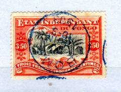 Etat Indépendant Du Congo 1886,  3F50 Village Indigène, 27 Ø En 1903, Cote 155 €, - 1884-1894 Précurseurs & Leopold II