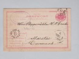 Heimat Schweden Bahnstempel 1887-10-13 #PKXP N.10C.NEU Ganzsache Nach Marstal Dänemark - Entiers Postaux