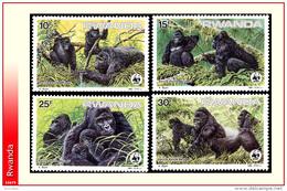 Rwanda 1227/30** Gorilles Des Montagnes -MNH-  Dessin De Buzin WWF