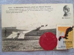 LE MONOPLAN HENRIOT . PILOTE PAR MARCEL HANRIOT . CACHET CIRE ROUGE REIMS 1910 - Autres