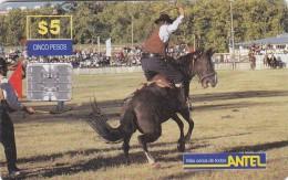 Uruguay TC 045a, Jineteada, Horses, 2 Scans. - Uruguay
