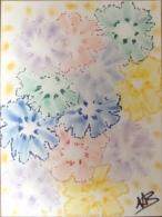 """Oeuvre Unique Et Originale """"ombres Florales """" N°122  24 X 32 Cm. - Pastels"""