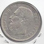 LEOPOLD II - 5 Frank 1868 POSITIE B - Franstalige Tekst  - ZEER FRAAI  ++  M155a - 1865-1909: Leopold II