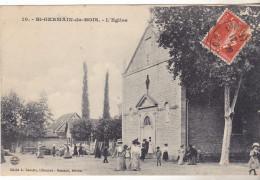 71 St Germain Du Bois - L'Eglise. édit Bassartn°10. Animée,Tb état,datée 1909. - Autres Communes