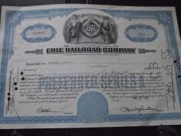 Action The ERIE RAILROAD COMPANY (Etats-Unis) - Fifty (50) $ - Hirsch & Co -  May 27 1955 (27 Mai 1955) - Chemin De Fer - Chemin De Fer & Tramway