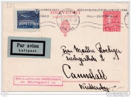1930 Carte Postale Par Avion De Stockholm, Suède Vers Cannstatt, Allemagne, Cachet D'arrivée à Stuttgart, Correspondance - Sweden