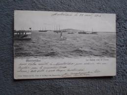 Cpa Uruguay Montevideo La Bahia Con El Cerro 1904 Cachet Steam Ship Agent - Uruguay