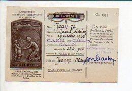 Militaria Office National Pupilles De La Nation.- Carte D'Identité Jeanne Raoul Née à Caen Fils De... - Dokumente