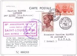 1955 - CP PAR AVION De Saint Louis Du Sénégal Vers  Natal, Brésil - 25e Anniv LIGNE MERMOZ - Cad Arrivée