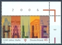 !a! GERMANY 2006 Mi. 2510 MNH SINGLE From Upper Right Corner -Town Of Halle - BRD