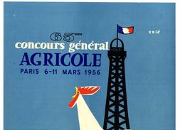 AFFICHE 1956  -  65 ° CONCOURS GENERAL AGRICOLE PARIS 1956  -   ILLUSTRATION ERIC  -  COQ - Posters