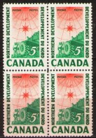 CANADA, 1961,  # 391, NORTHERN DEVELOPMENT: SURVEYING CREW, M NH  BLOCK OF 4 - Blocs-feuillets