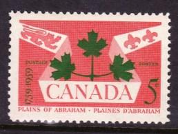 CANADA 1959, # 388, PLAINS OF ABRAHAMS: NATIONAL  EMBLEMS,  MNH STAMPS