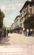 LA SPEZIA--CARTOLINA VIAGGIATA TRA IL 1900-1904-CORSO CAVOUR DA PIAZZA MERCATO-TIMBRO DELLA MARINA FRANCESE AL VERSO - La Spezia