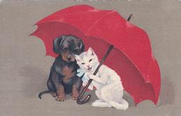 CPA Chat Et Chien S'abritant Sous Un Parapluie Umbrella Pépin Pébroque Fantaisie Illustrateur - Cani