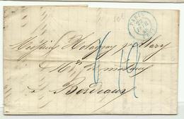 Cachet Bleu Paris + Taxe Bleue Sur Pli Pour Bordeaux 1848 - Marcofilia (sobres)