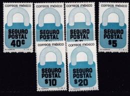 Mexico (Sc # G25-28A), MNH, (Complete Set Of 6)Postal Security--Padlock (1976) - Mexique