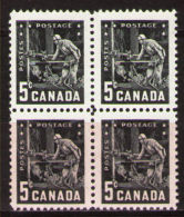 CANADA 1957, #373,  MNH,  MINING: MINER PANNING GOLD .   PAN  MINEUR  MINE D´or  Block Of 4       MNH