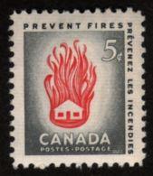 CANADA 1956, #364,  MNH,  PREVENT FIRE: HOUSE IN FIRE     FLAME  FEU MNH