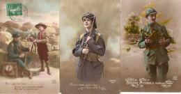 69Bc   Lot De 3 Cpa Soldats Poilus Patriotique Propagande Femme Baionnette  Scout Même Correspondance - Patriotiques