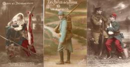69Bc   Lot De 3 Cpa Soldats Poilus Patriotique Propagande Blessés Infirmiere Allié Même Correspondance - Patriotiques