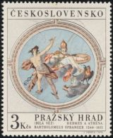 Czechoslovakia / Stamps (1970) 1832: Prague Castle - White Tower; Bartholomeus Spranger (1546-1611) Hermes & Athena - Mythologie