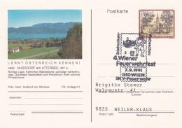 Austria Postal Stationary P/m Wien 1991 4. Wiener Feuerwehrfest (G86-64) - Firemen