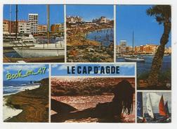 {40904} 34 Hérault Le Cap D' Agde , Multivues ; Divers Aspects , Voiliers , Femme Seins Nus - Agde