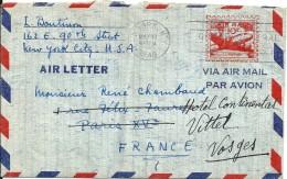 Lettre  Cachet Au Départ De  NEW YORK  à  Destination  De  VITTEL  ( 88 )  Par Avion - Amérique Centrale