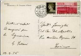 BIMILLENARIO ORAZIANO 20c + Imperiale 10c Annullo Targhetta Lotteria Di Merano Su Cartolina Roma Monumento  S. Francesco - 1900-44 Vittorio Emanuele III