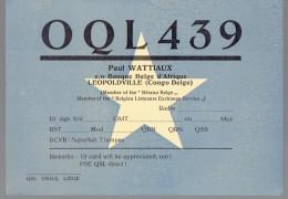 Etoile Sur Très Ancienne QSL De OQL439, Paul Wattiaux, Banque Belge D'Afrique, Léopoldville, Congo Belge (vers 1950) - Radio Amateur