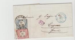 Brs232 / BRAUNSCHWEIG -  Michel Nr. 19 Und 20 Aus Trier Nach Cognac, Frankreich 1873. Aktenfrischer Beleg - Brunswick