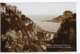 MONACO - N° 127 - LE RAVIN DE STE DEVOTE ET VUE SUR LA POINTE DU ROCHER - REAL PHOTO - CPA NON VOYAGEE - Monte-Carlo