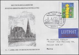USo 19 Jugend-Ausstellung Deutschland-Bulgarien, SSt Beckum 6.4.2002 Nach Malta - Exposiciones Filatélicas