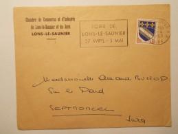 Marcophilie  Cachet Lettre Obliteration Timbre  - Foire De Lons Le Saunier  1963 (741) - Marcophilie (Lettres)