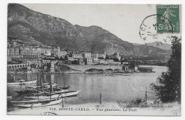 MONTE CARLO EN 1911 - N° 718 - VUE GENERALE - LE PORT - BEAU CACHET - CPA VOYAGEE - Harbor