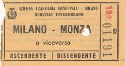 BIGLIETTO BUS USATO MILANO MONZA (ANNI 50?) - Bus