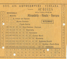 BIGLIETTO BUS USATO SAAF FERRARA MIRANDOLA 1950 RITORNO - Bus