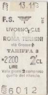 BIGLIETTO FS L.2200 LIVORNO-ROMA (FS13 - Europe