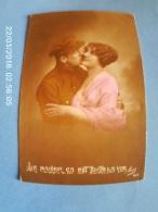 """WWI Fantaisie Patriotique Belgique """"Le Baiser ça Est Toute La Vie"""" Couple Femme Soldat Militaire 1917 - Guerre 1914-18"""