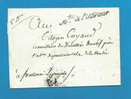 France - LSC De PARIS à FONTAINE-LEPEUPLE (Fontaine-le-Comte) Cachet Ministre De L´Intérieur 5e Division - Marcophilie (Lettres)