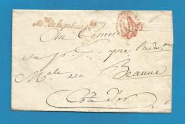 France - LSC De Ministre De La Police (en Rouge) à Beaune + Cachet Paraphe Contrôle Censure - 1701-1800: Precursors XVIII