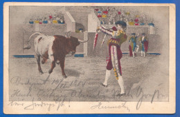 Tiere; Toros; Corrida; 1904 Stempel Hosszufalu, Sacele - Corrida