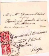 Darimont Thibert Boulanger Rue De Mangombroux à Verviers 1934 - Cartes De Visite