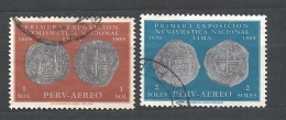 PERU    -  1961 Airmail - The 1st National Numismatic Exhibition, Lima 587/8 2v Used - Peru