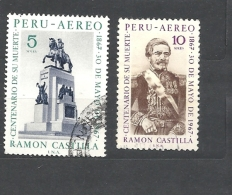 PERU    - 1969 Airmail - The 100th Anniversary Of The Death Of President Ramon Castilla, 1797-1867 708/9 Use D - Peru