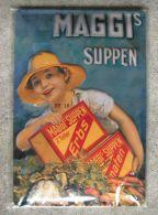 Maggi  - Plaque - Métallique  - Frau Mit Gemüse  - Nestle - Ca. 30 X 20 Cm - Plaques Publicitaires