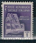 RSI 1944 MONUMENTI DISTRUTTI  1 Lira ** MNH - 4. 1944-45 Repubblica Sociale