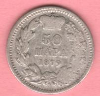 SERBIE 50 Para Argent Silver 1879  ** 2 Scannes - Serbie