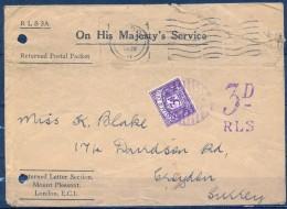 1936 , GRAN BRETAÑA , LONDRES - SURREY , INTERESANTE SOBRE CON TASA POR INSUFICIENCIA DE FRANQUEO - 1902-1951 (Kings)